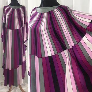 Vintage 70s Purple Psychedlic Kaftan Maci Dress M